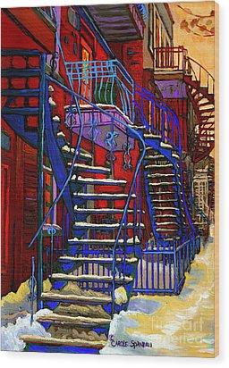 Classic Blue Winding Staircase Montreal Winter City Scene Painting  By Carole Spandau Wood Print by Carole Spandau