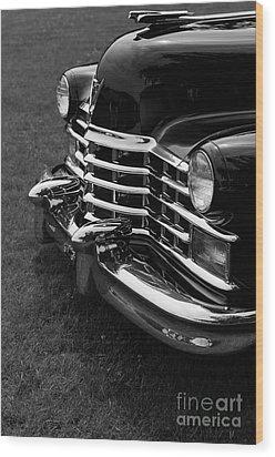 Classic Cadillac Sedan Black And White Wood Print by Edward Fielding