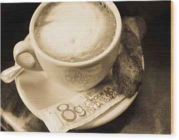Classic Cafe Con Leche Cup In Spain Wood Print by Calvin Hanson