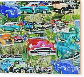 Classic Car Collage Wood Print by Marilyn Diaz