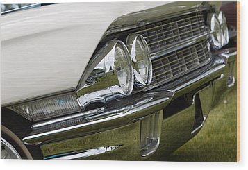 Classic Car Front Wing And Lights Wood Print by Mick Flynn