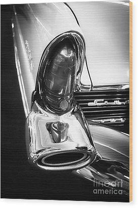 Classic Car Tail Fin Wood Print by Edward Fielding