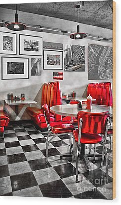 Classic Diner Wood Print by Delphimages Photo Creations