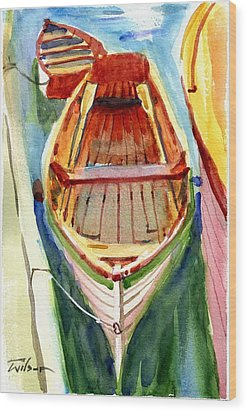Classic Dinghy - Watercolor Sketch Wood Print by Ron Wilson