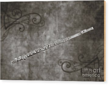 Classic Flute Music Instrument Photograph In Sepia 3306.01 Wood Print