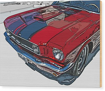 Classic Ford Mustang Nose Study Wood Print by Samuel Sheats