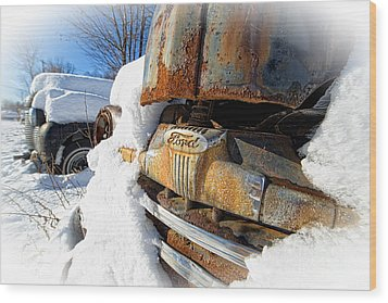 Classic Ford Pickup Truck In The Snow Wood Print by Edward Fielding