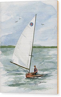 Wood Print featuring the painting Classic Moth Boat by Nancy Patterson