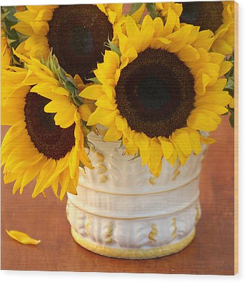 Classic Sunflowers Wood Print by Art Block Collections