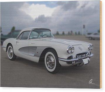 Classic White Corvette Wood Print by Chris Thomas