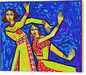 Classical Dancers Wood Print by Anand Swaroop Manchiraju