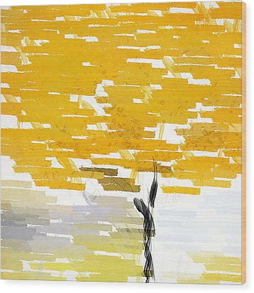 Classy Yellow Tree Wood Print by Lourry Legarde