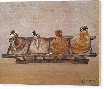 Clay Jugs In A Row Wood Print by Brenda Brown