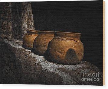 Clay Pots  ... Wood Print by Chuck Caramella