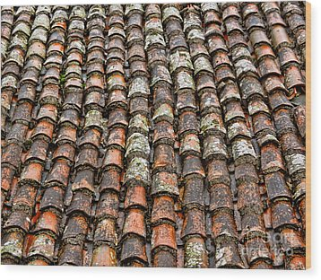 Wood Print featuring the photograph Clay Tile Roof Of A Greek Monastery by Alexandra Jordankova