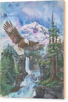 Wood Print featuring the painting Cleared For Landing Mount Baker by Sherry Shipley