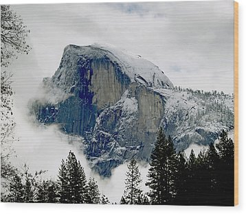 Clearing Storm Around Half Dome Wood Print by Bill Gallagher