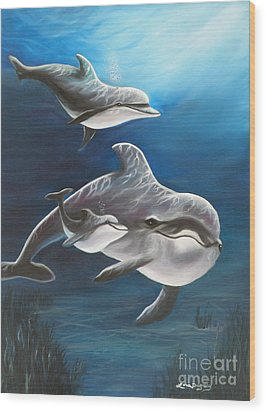 Clearwater Beach Dolphins Wood Print