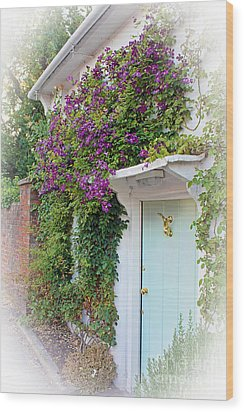 Clematis Around The Door Wood Print