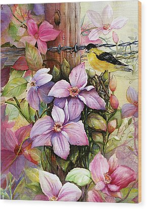 Clematis Vine And Goldfinch Wood Print by Patricia Schneider Mitchell