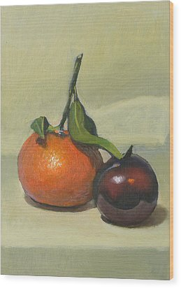 Clementine And Plum Wood Print by Peter Orrock