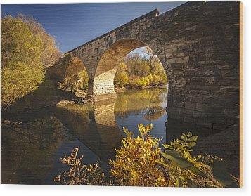 Clements Stone Arch Bridge Wood Print by Scott Bean