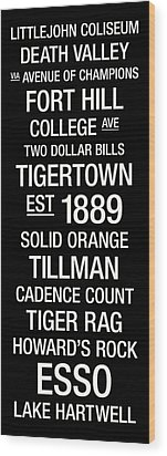 Clemson College Town Wall Art Wood Print by Replay Photos