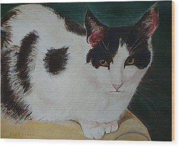 Cleo- Painting Wood Print by Veronica Rickard