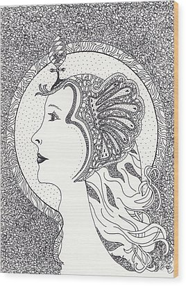 Wood Print featuring the drawing Cleopatra  by Tamyra Crossley