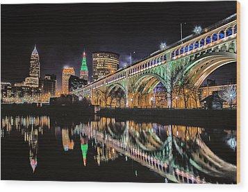 Cleveland Christmas Bridge Wood Print