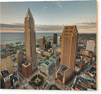 Cleveland From A Birds Eye View Wood Print