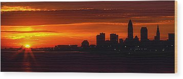 Cleveland Silhouette Wood Print by Dale Kincaid