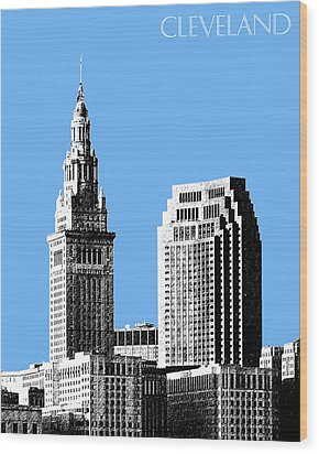 Cleveland Skyline 1 - Light Blue Wood Print by DB Artist