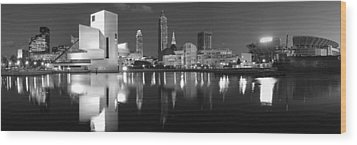 Cleveland Skyline At Dusk Black And White Wood Print by Jon Holiday