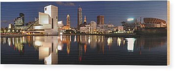 Cleveland Skyline At Dusk Wood Print by Jon Holiday