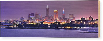 Cleveland Skyline At Night Evening Panorama Wood Print by Jon Holiday
