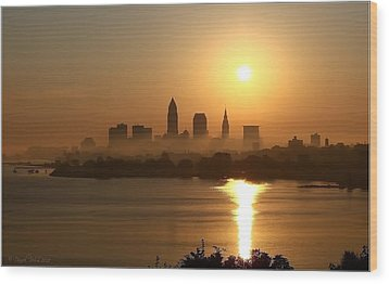 Cleveland Skyline At Sunrise Wood Print