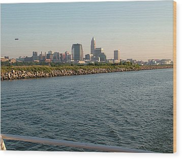 Cleveland Skyline From Blimp To Stadium Wood Print by Liz Copic