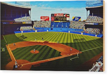 Cleveland Stadium Wood Print by Thomas  Kolendra