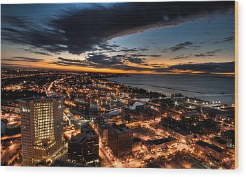 Wood Print featuring the photograph Cleveland Sunset by Brent Durken