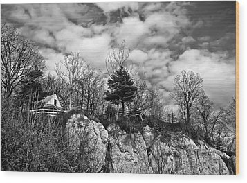 Wood Print featuring the photograph Cliff House B/w by Greg Jackson