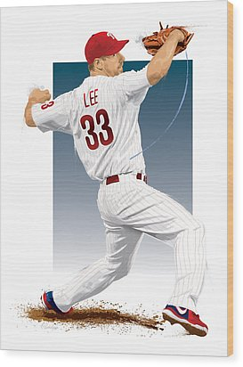 Wood Print featuring the digital art Cliff Lee by Scott Weigner