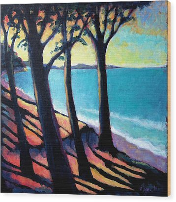 Cliff Lookout Wood Print by Angela Treat Lyon