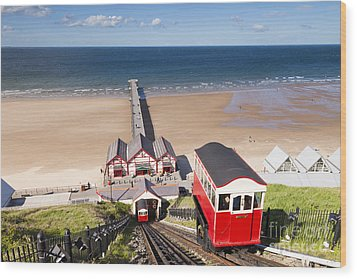 Cliff Railway Saltburn By The Sea Wood Print by Colin and Linda McKie