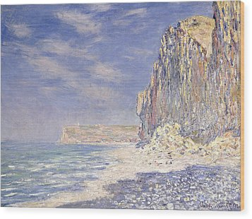 Cliffs Near Fecamp Wood Print by Claude Monet