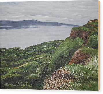 Cliffs Of Magho Wood Print by Monica Veraguth