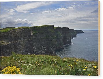 Cliffs Of Moher Looking South Wood Print by RicardMN Photography