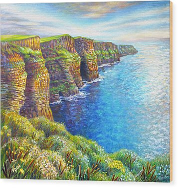 Wood Print featuring the painting Cliffs Of Moher by Nancy Tilles