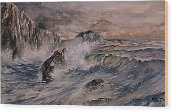 Cliffside Surf Wood Print