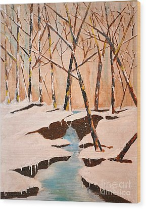 Cliffy Creek Wood Print by Denise Tomasura